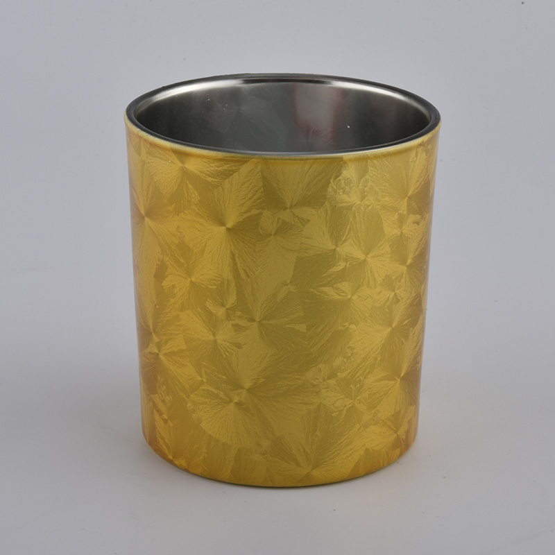 10pz golden metallic glass candle holders