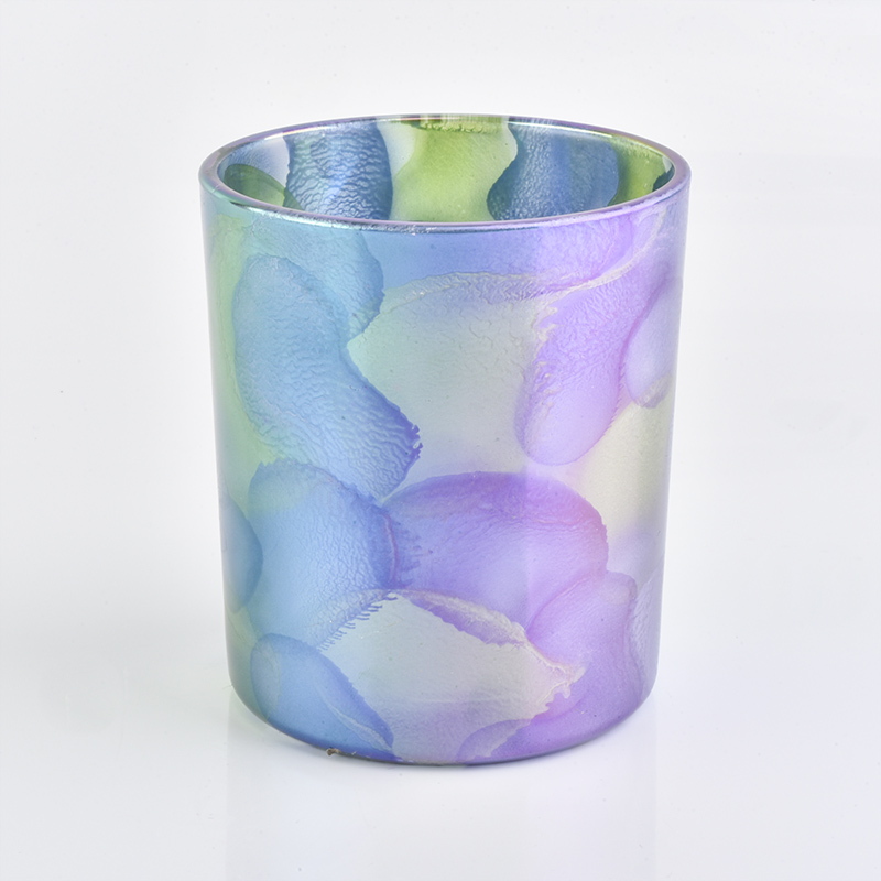 New arrival 12 oz glass candle holder with unique painting