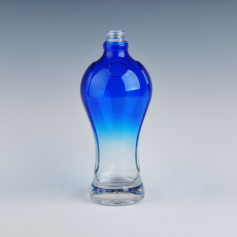 Glass wine bottle with blue spray color china glass bottle for Red glass wine bottles suppliers