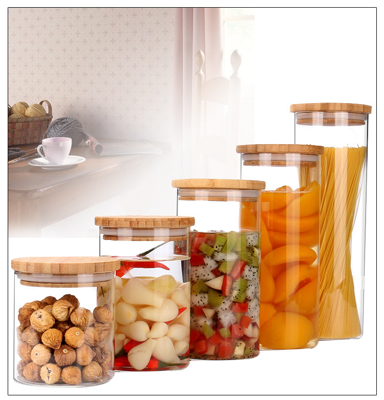 High quality borosilicate glass food container with wooden lids