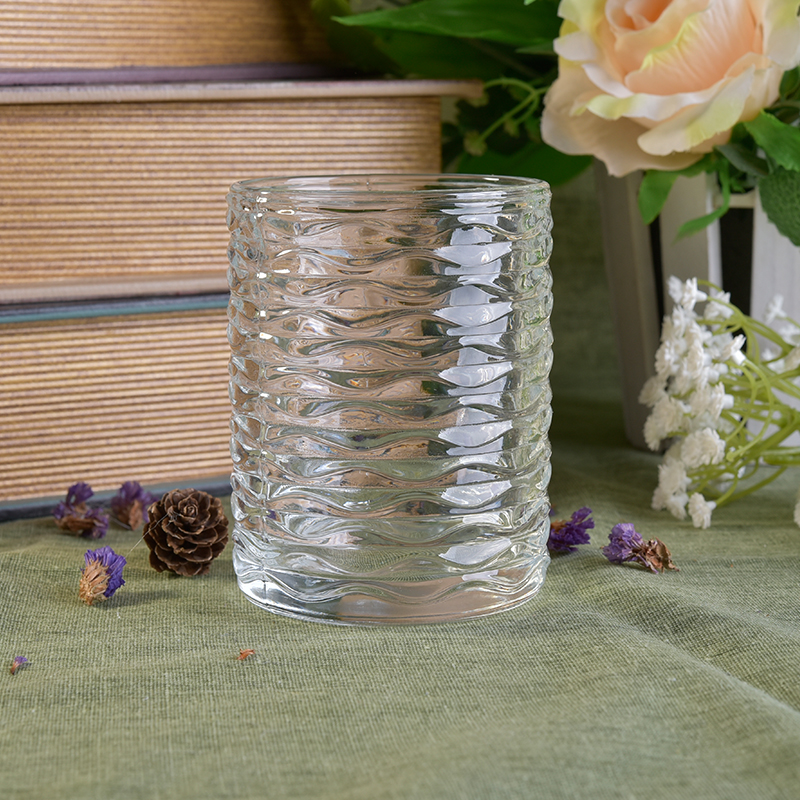 11.5oz glass candle jar with wave pattern
