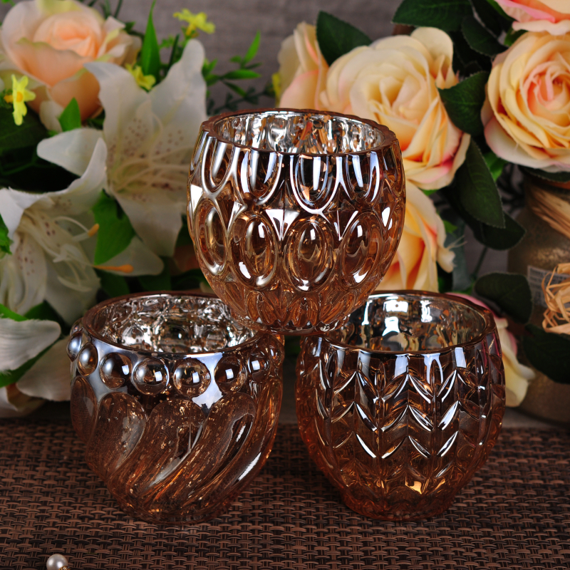 Dimpled Weddding Decoration Color Sprayed Electroplated Glass Candle Jar