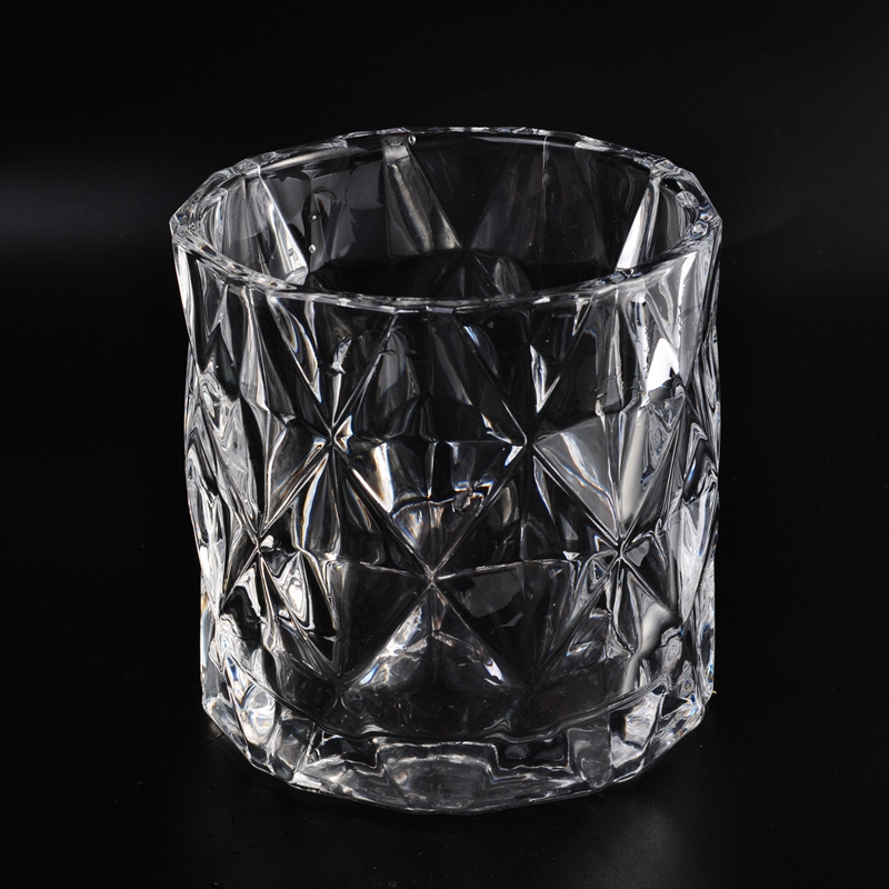 Diamond Pattern Crystal Glass Candle Holder