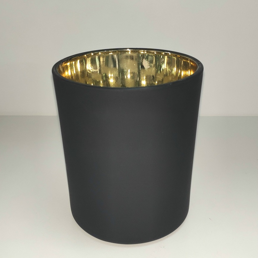 matte black glass candle vessel with gold inside