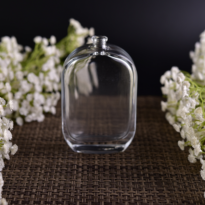 Unique shape clear round square glass perfume bottle with sprayer