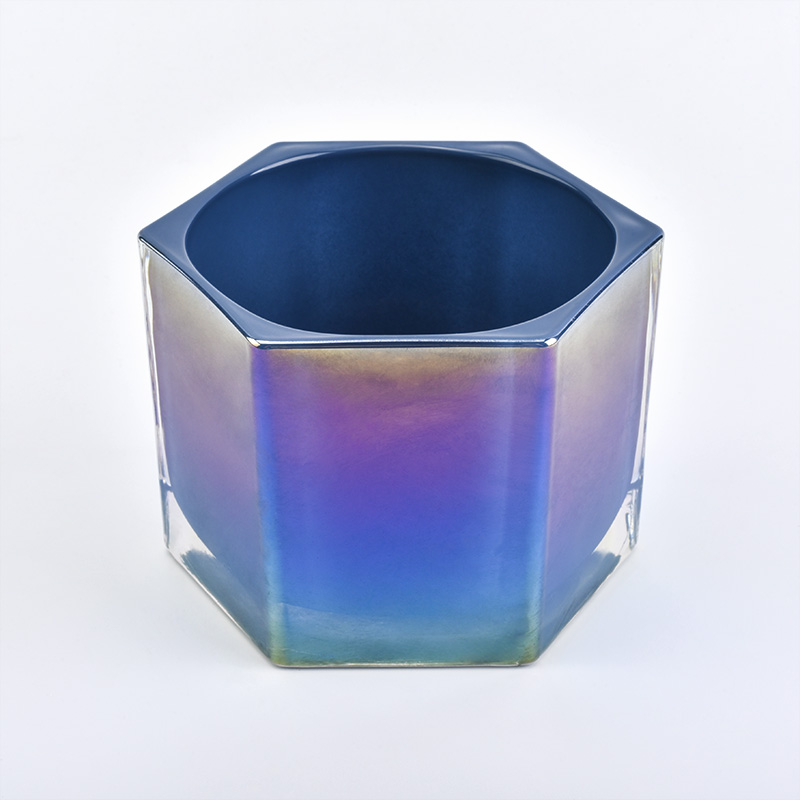 Glass candle holder with electroplated effect