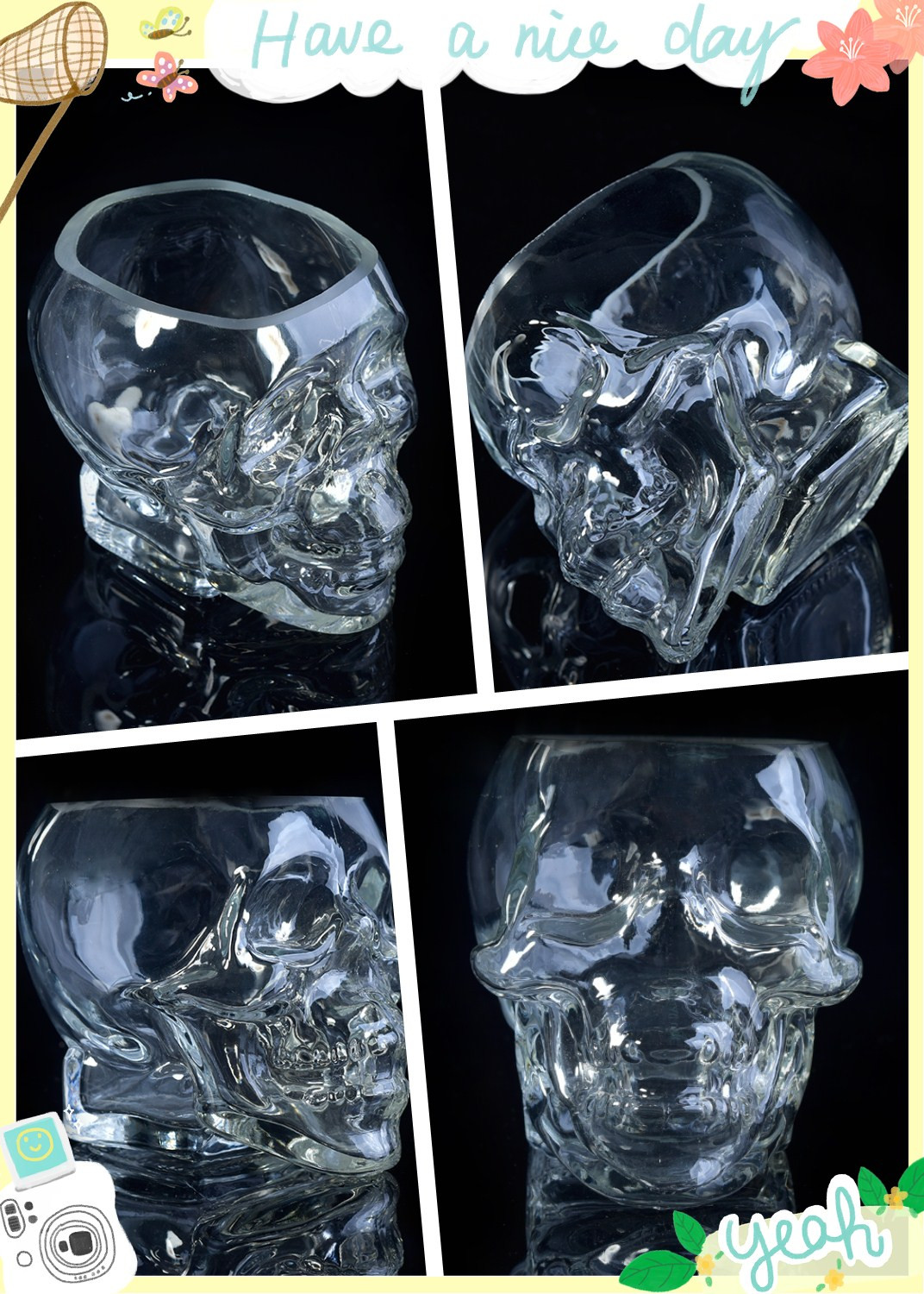 skull glass jar