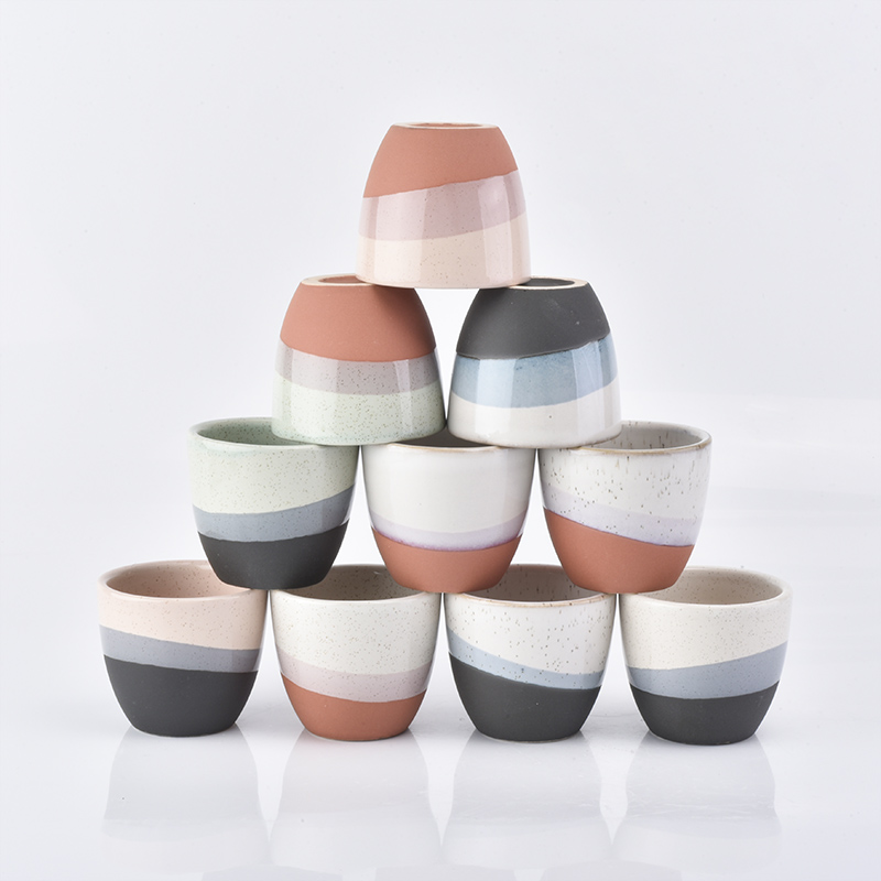 Tiny ceramic jar with different decoration and color ceramic candle holders