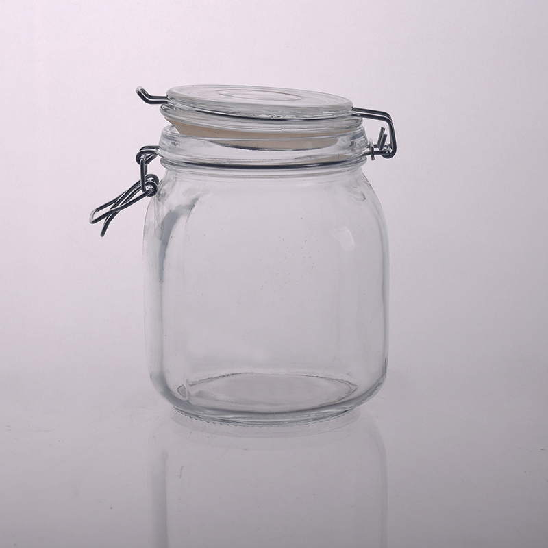 Crystal Food Fruit Sugar Glass Jar Storage Container with Clip Lid
