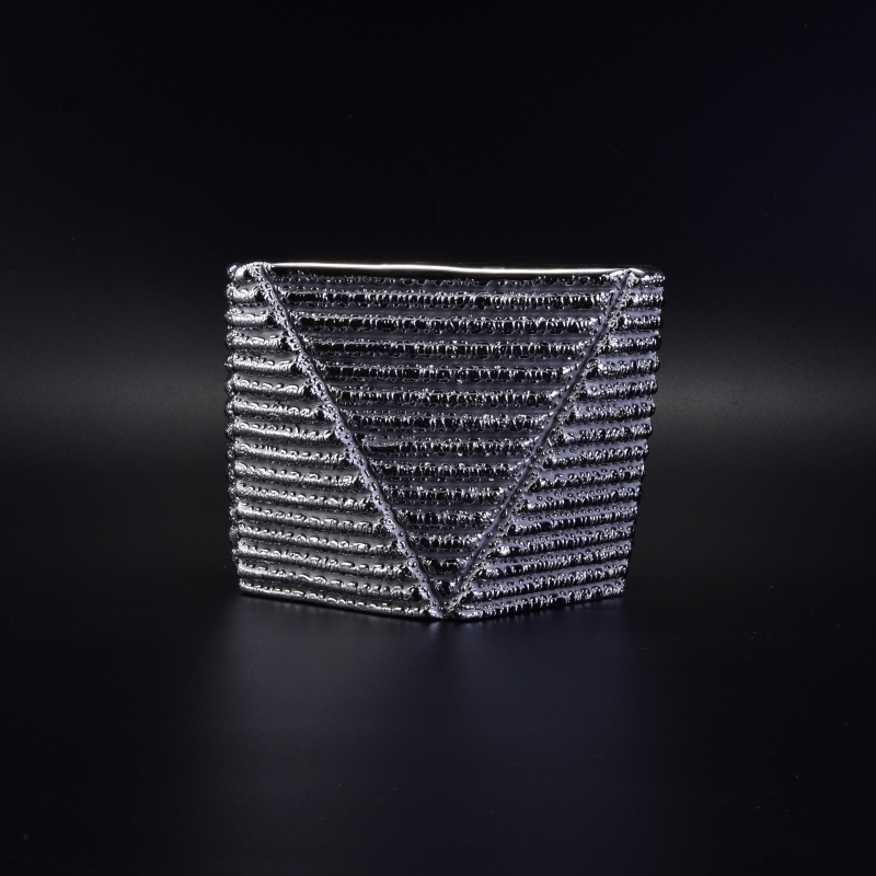 Unique Silver Domite Ceramic Candle Holder