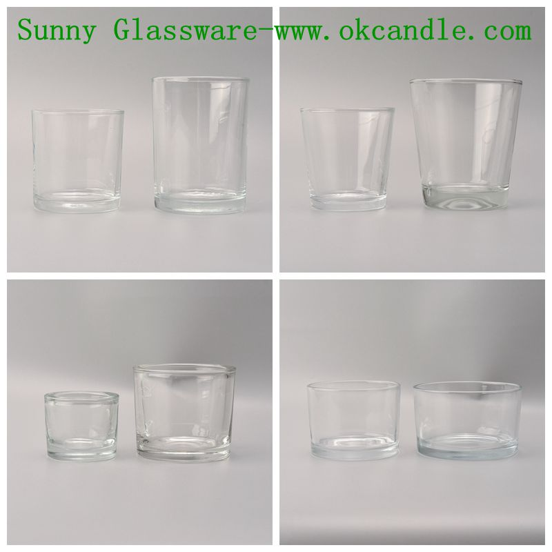 Stock clear plain glass candle holders