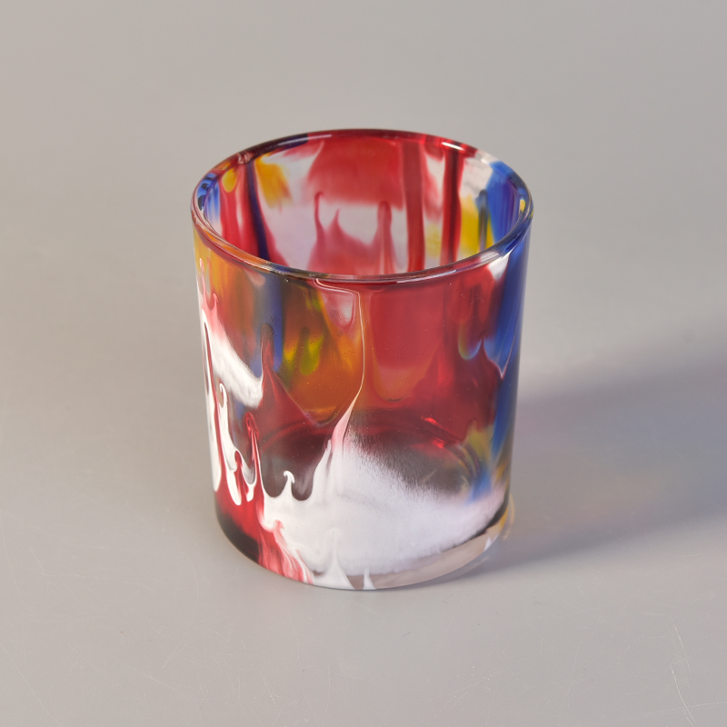 Oil painting effect glass candle holder