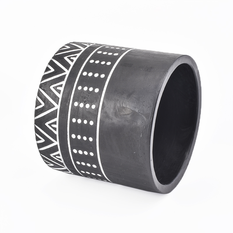 Black Cement Candle Vessels Wholesale