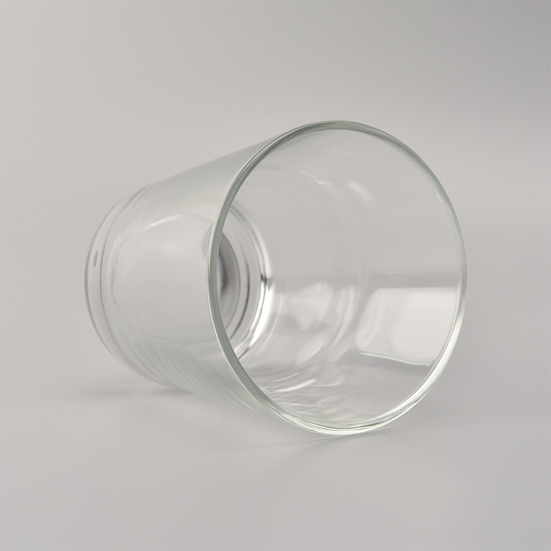 8 oz V shaped transparent glass candle jar