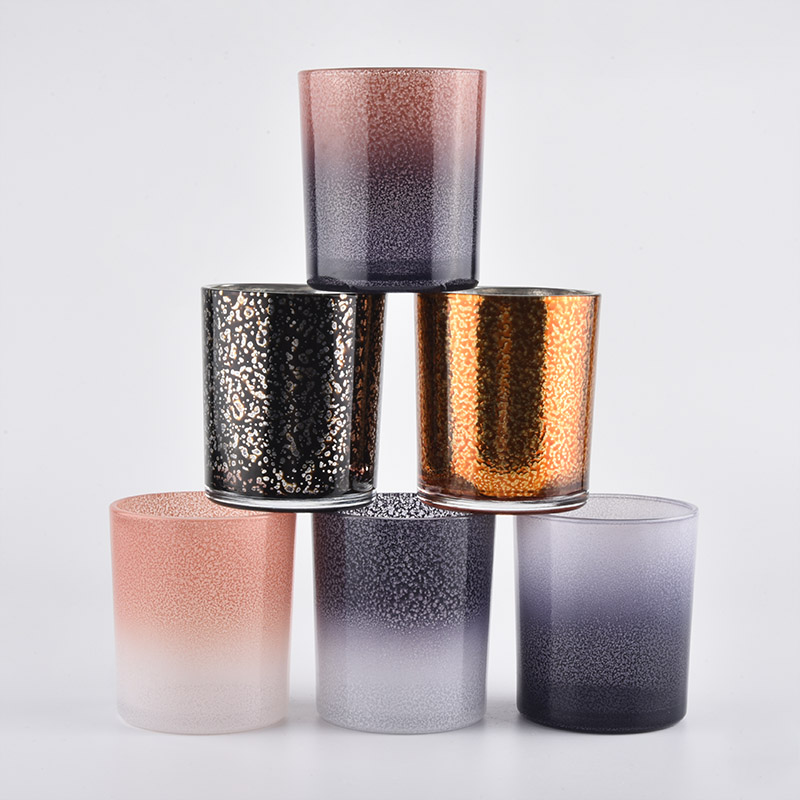 10oz glass candle holders with various decoration