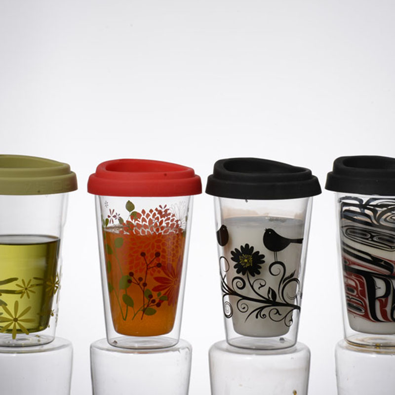 Wholesale custom pyrex double wall glass coffee cup with silicon lids
