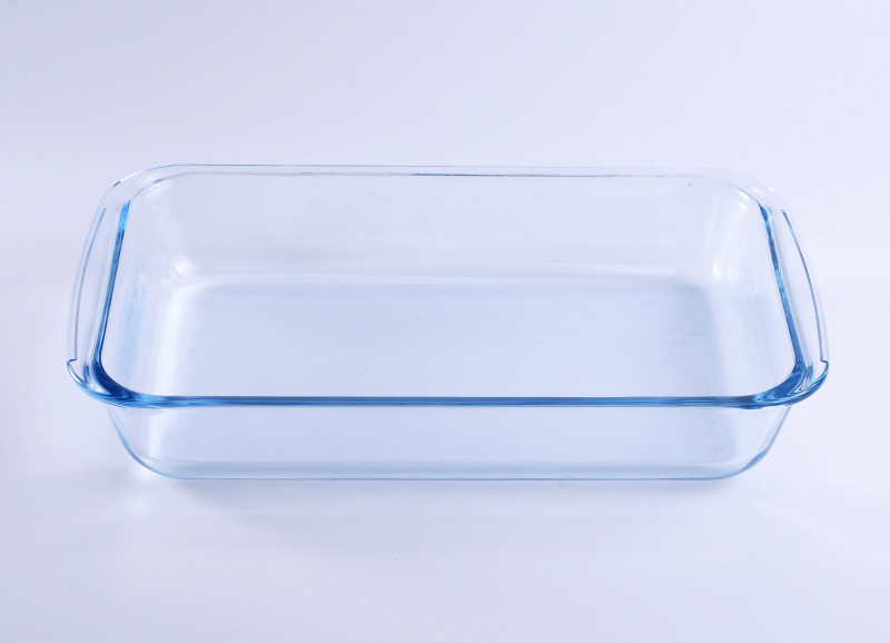 Clear blue rectangle pyrex glass charger plate