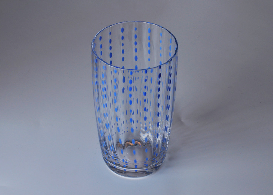 Mouth Blown blue dots glass candle jar