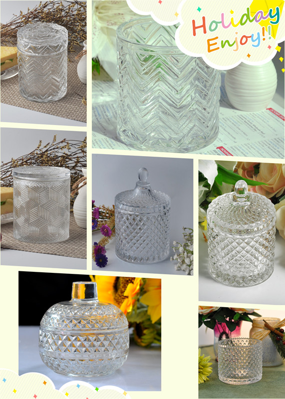 Popular Diamond Pattern Glass Candle Jar With Lids