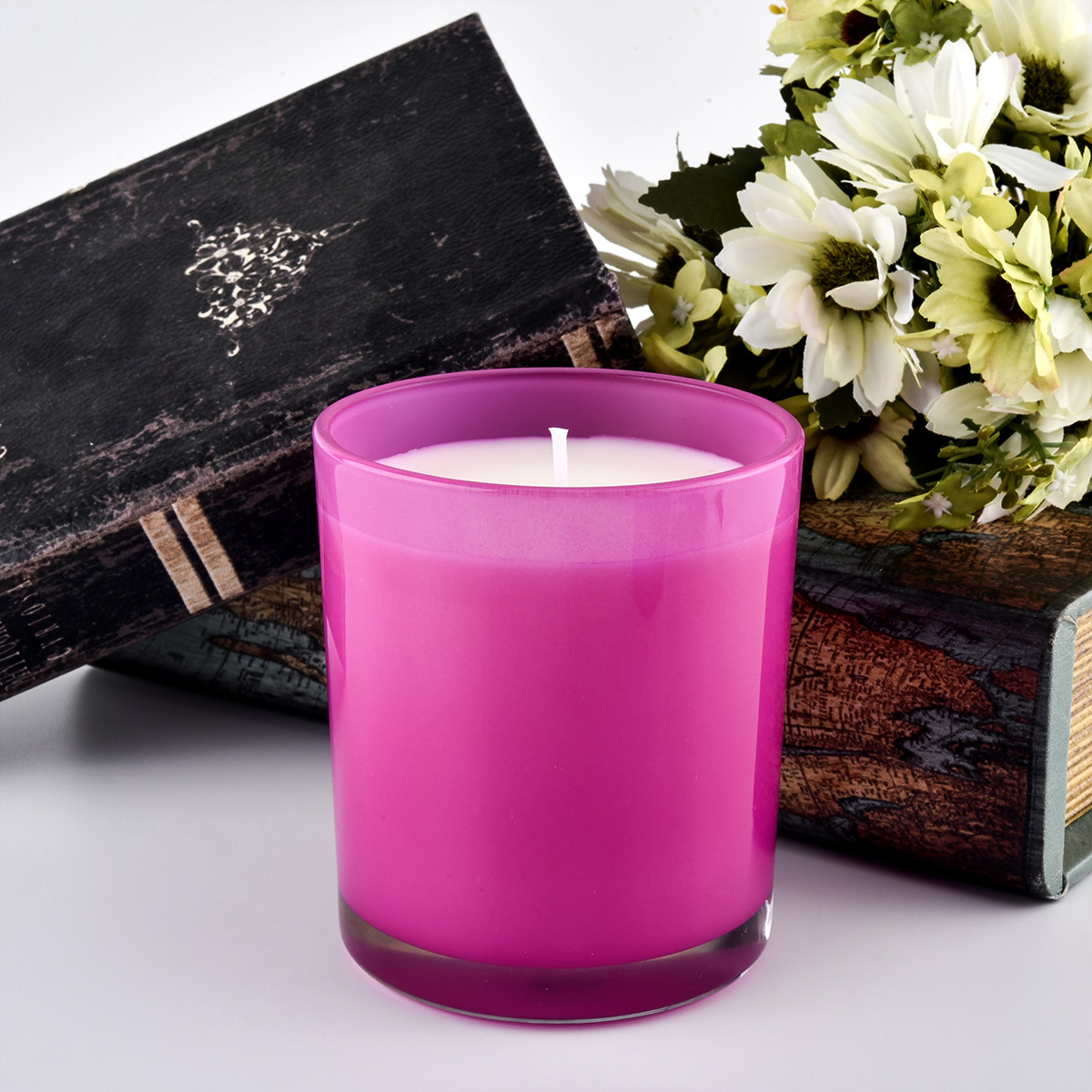 translucent luxury ombre pink candle jar