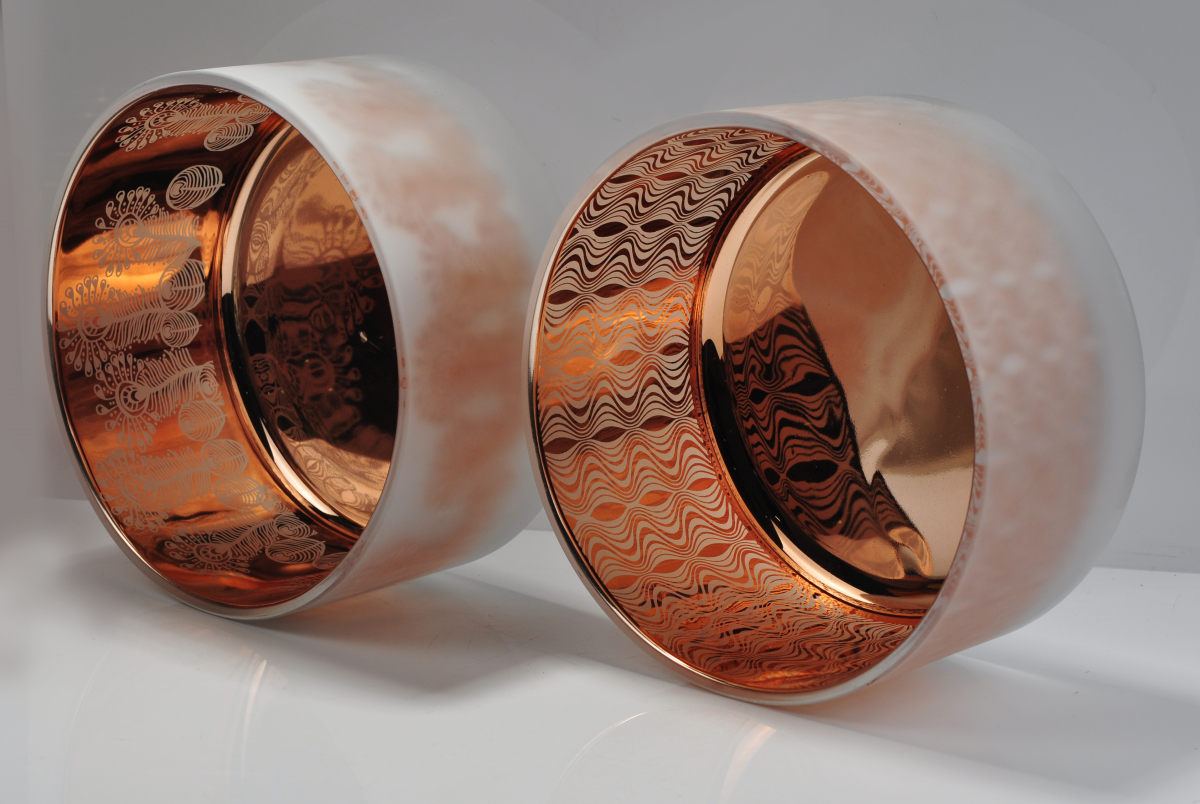 copper glass candle holders