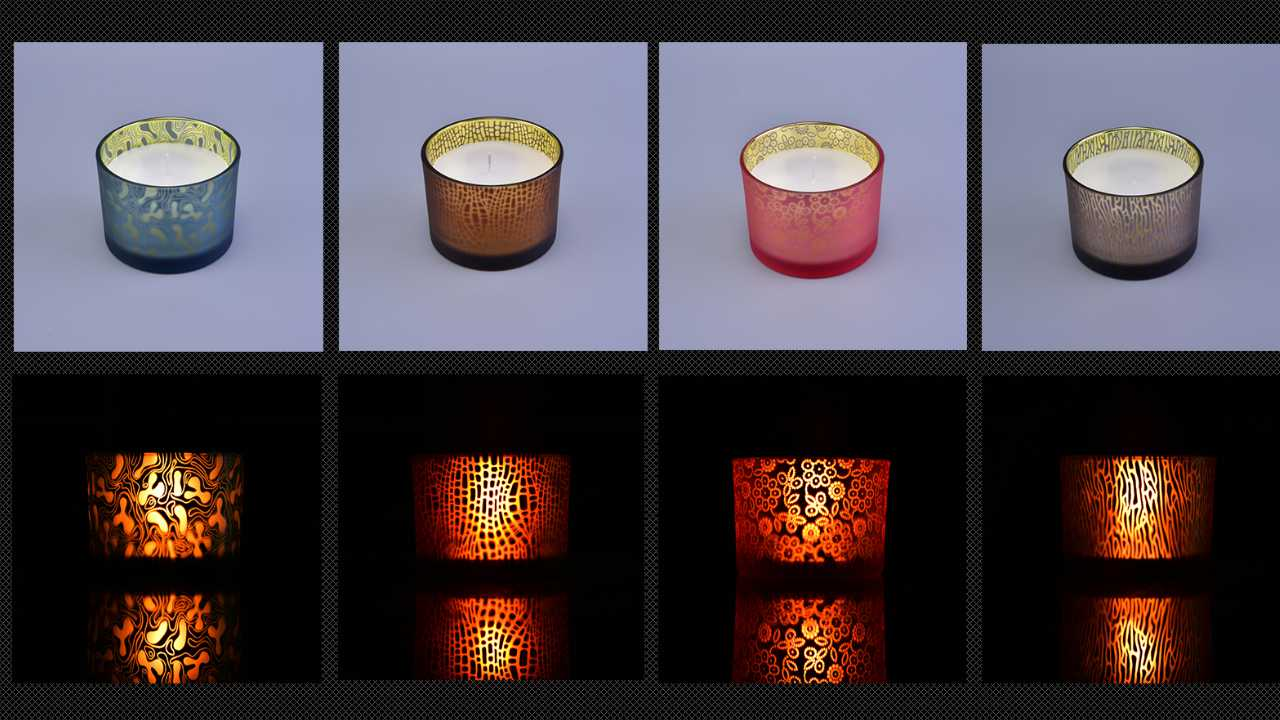 colorfull glass candle holdes