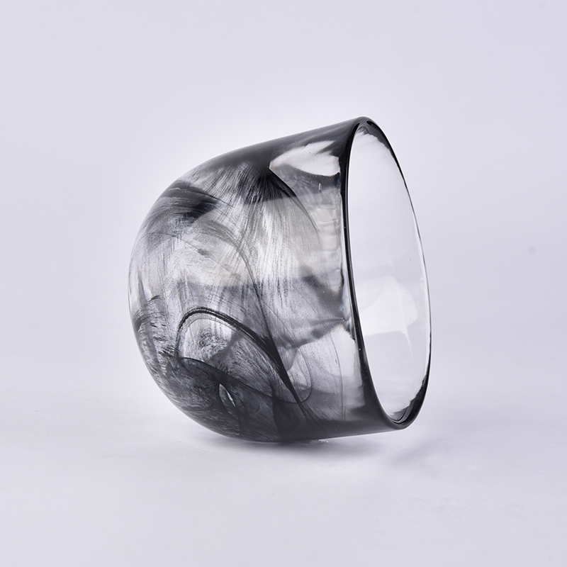 Glass Candle Holder with Dust Cloud Effect