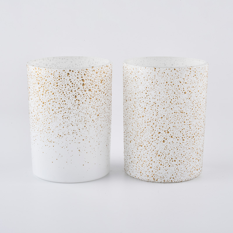 14oz glas candle jars with gold dots