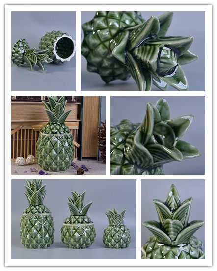 green ceramic pineapple candle