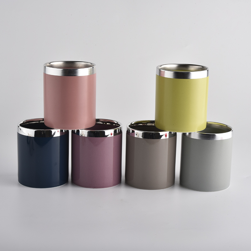 colorful glazing ceramic candle jars with silver top