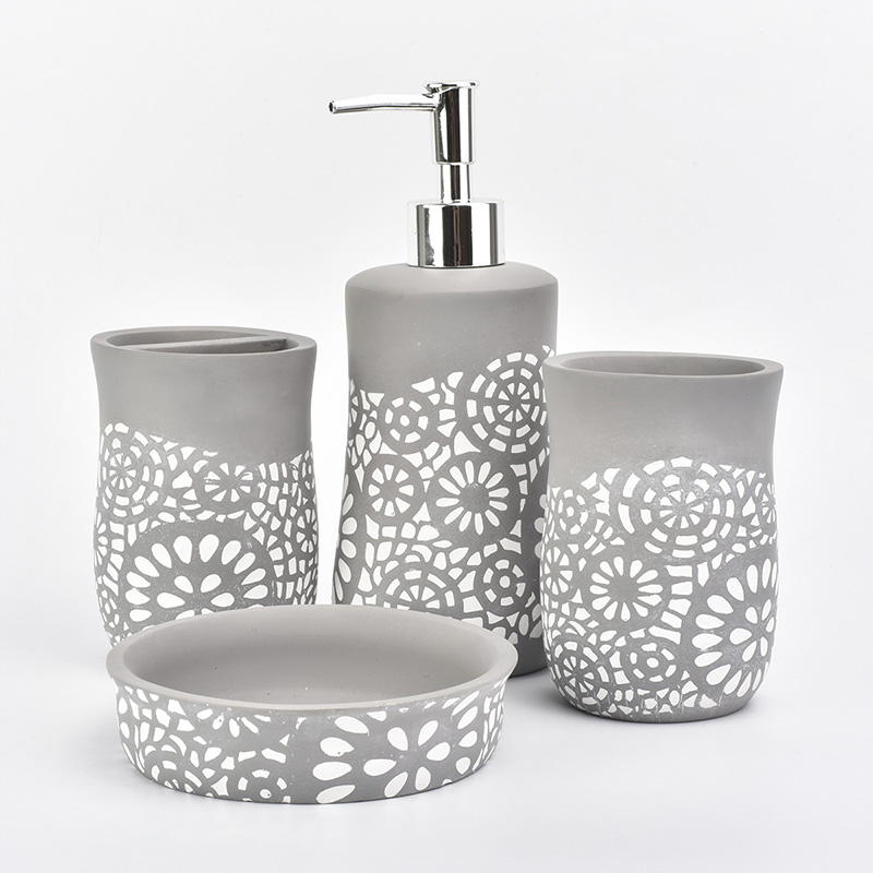 Concrete bathroom set with white pattern