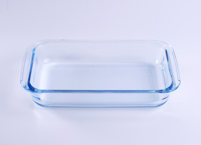 Clear Rectangle Fruit Plate Glass Dish with Handle