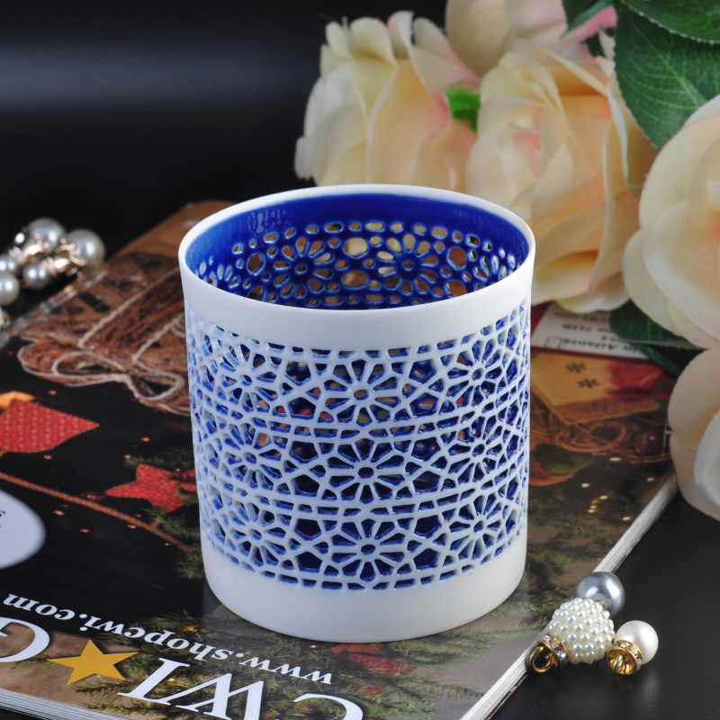 New hollow out home decoration ceramic candle holder