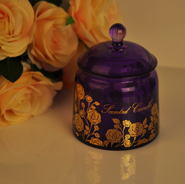 real gold printing glass candle jars