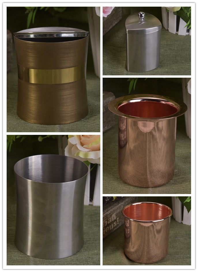 stainless steel metal candle jar