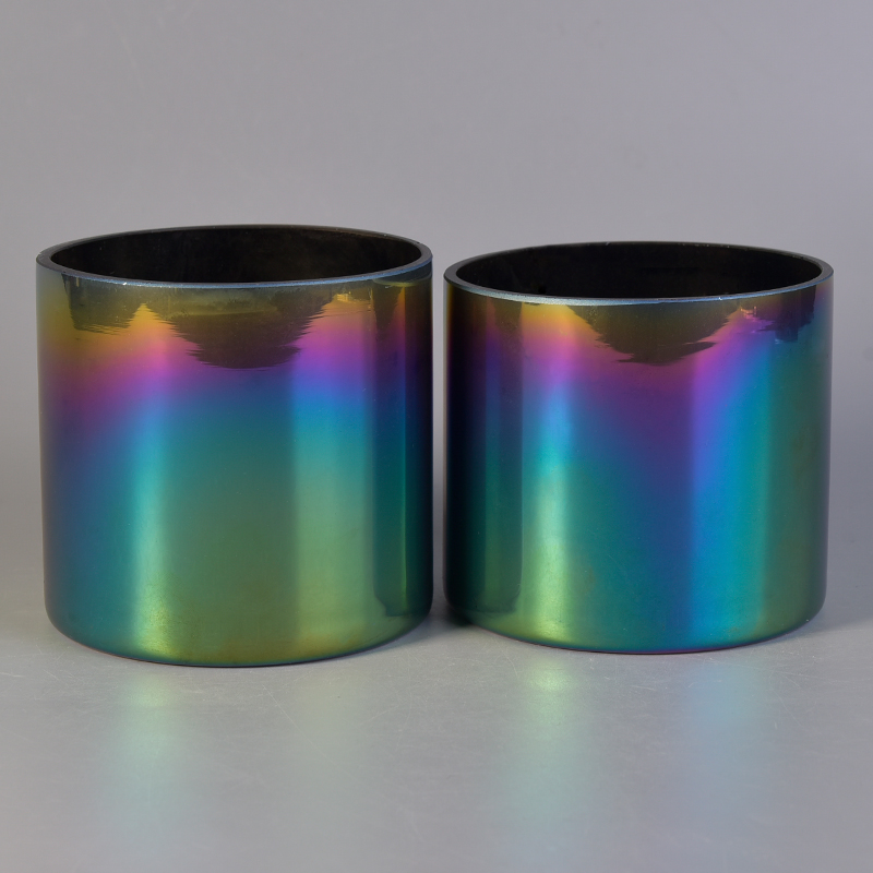 Straight Sided Rainbow Decorative Glass Candle Holders