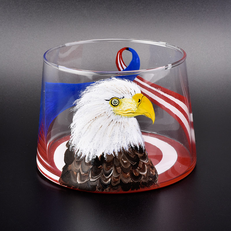 large hand painted eagle picture glass candle jars-Sunny Glassware