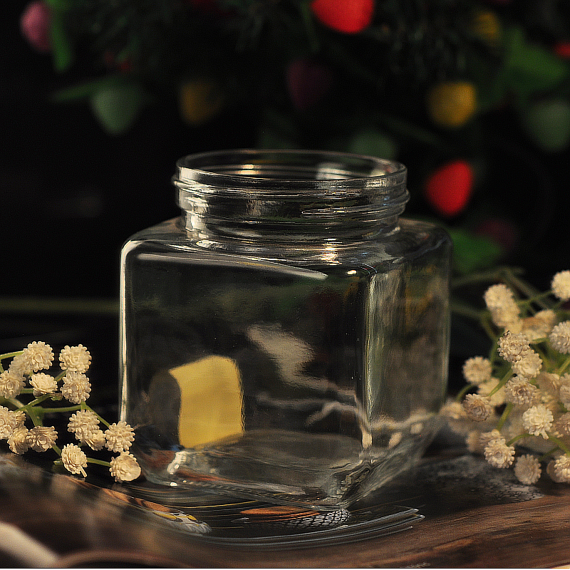 high white glass square jar wholesale from China
