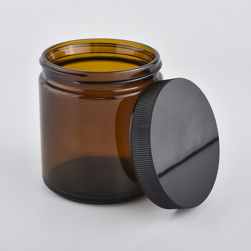 amber glass candle jar with lid