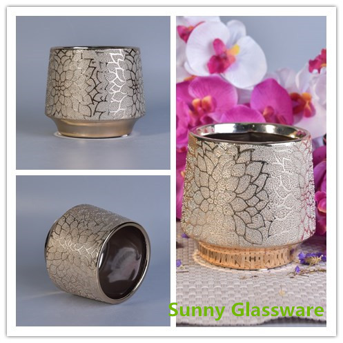 New arrival chrysanthemum pattern ceramic candle holder with gold plating