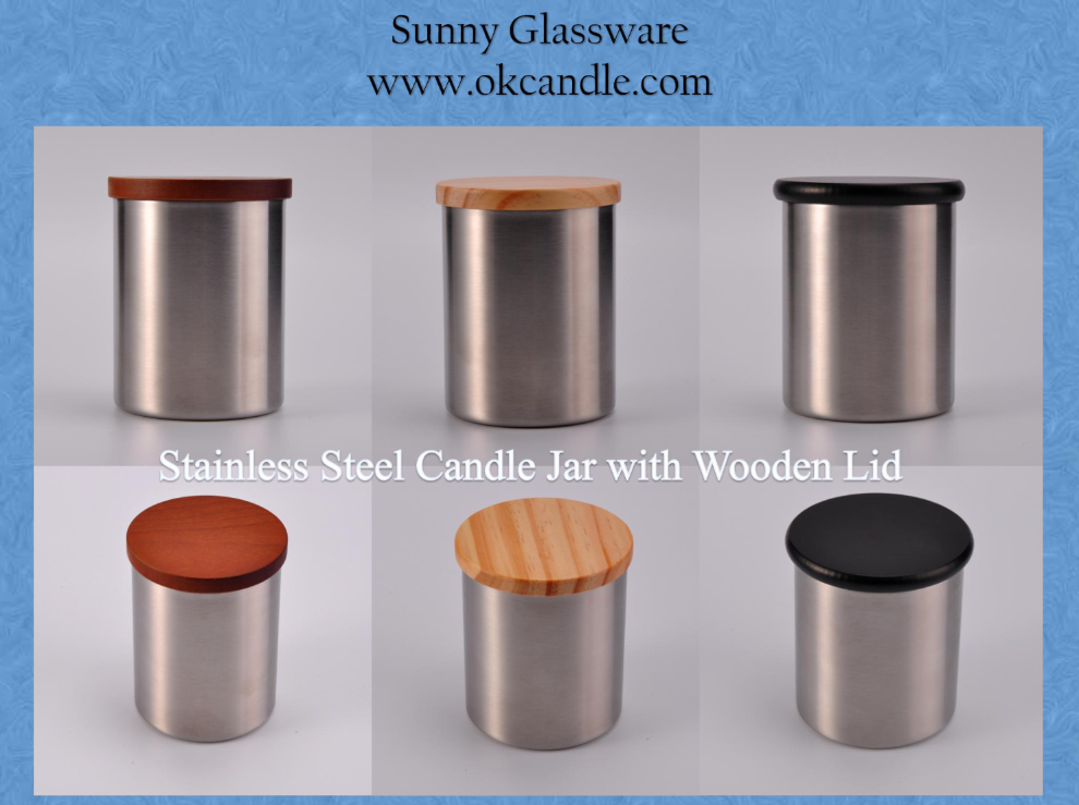 New Presentation of Stainless steel Candle Jars with Wooden Lids from Sunny Glassware
