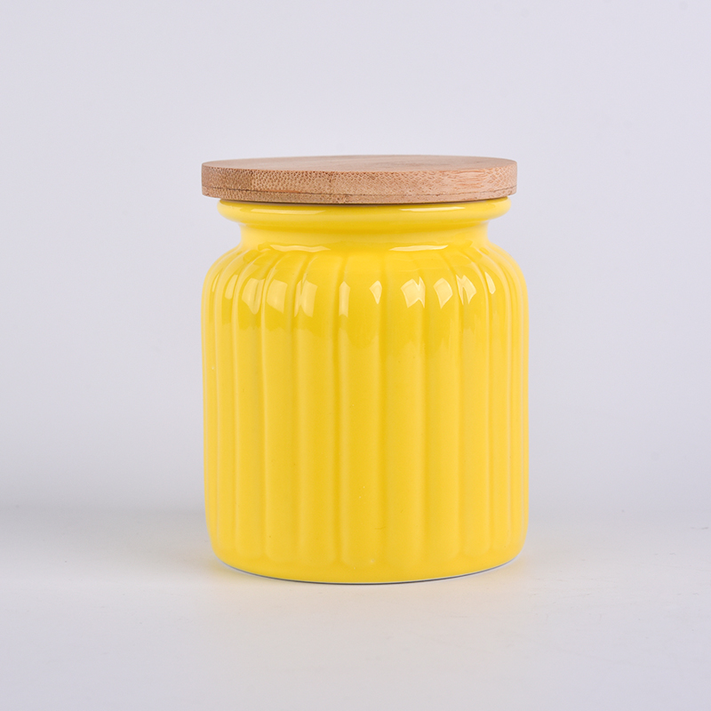 Yellow pumpkin ceramic container with wood lid