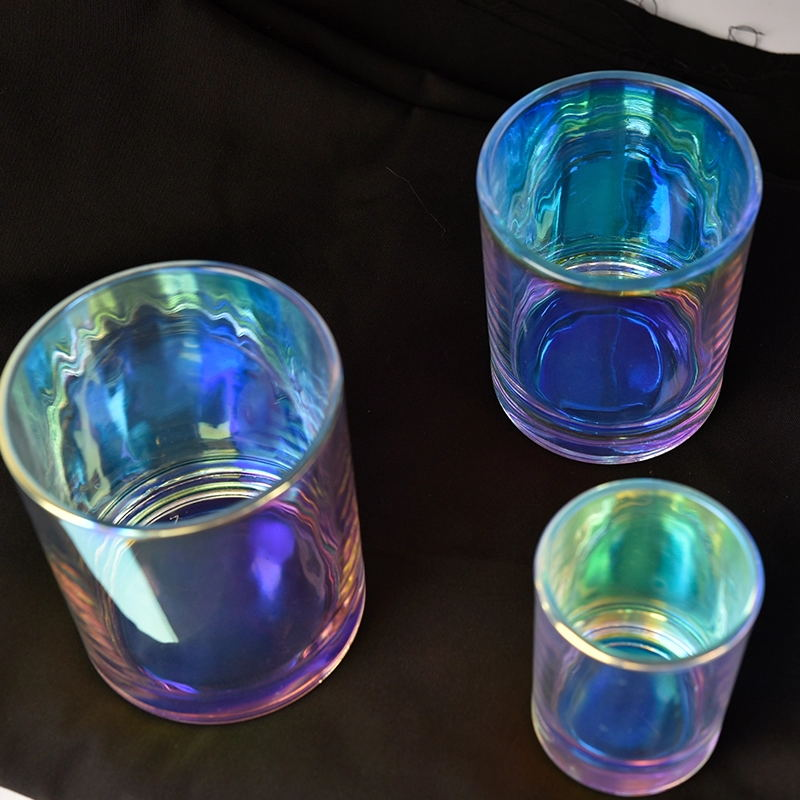 iridescent glass candle holder