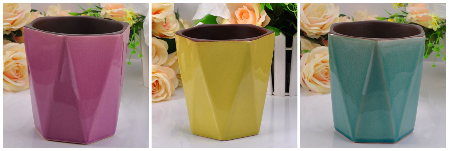 coloful glazed hexagon ceramic container