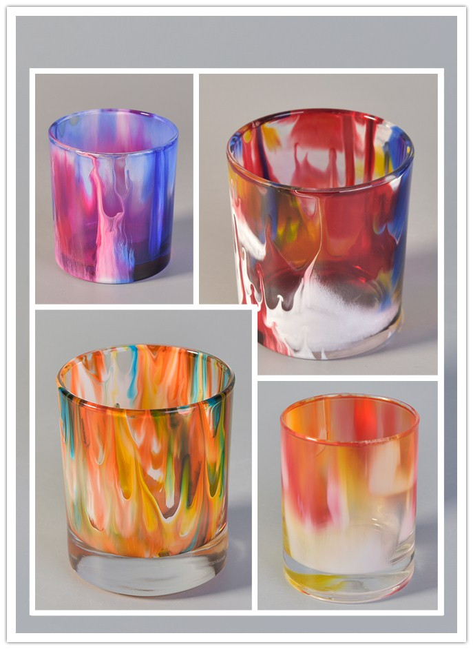 color painting glass candle holder