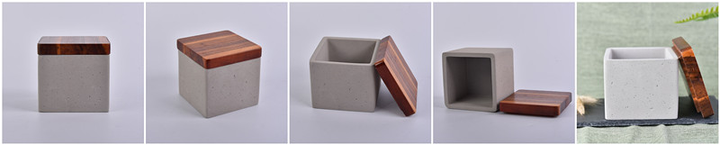 Square Concrete Candle Holders with Wood Lids