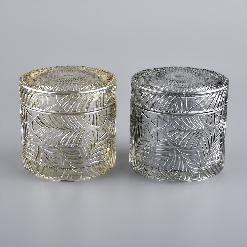 Geo-cut glass candle holders with lids