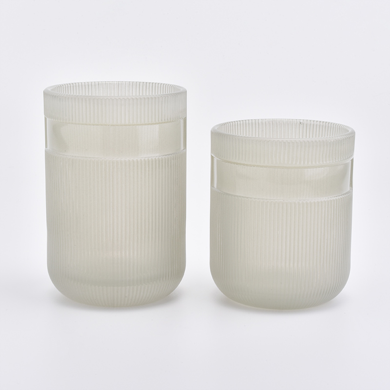 glass candle jars with metal label