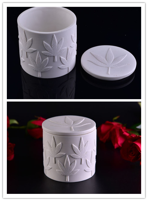 Maple leaf pattern ceramic candle jar with lid