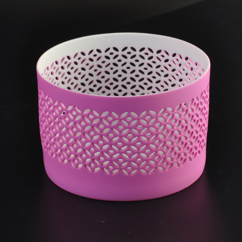 Hot sale pink color spraying ceramic candle holder